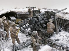 Dioramas and Vignettes: Winter episode of WWII.  German 88 in anti-tank mode with crew.