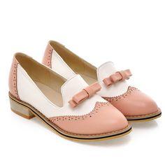 Style collège douce bout rond Oxford chaussures mode couleur de mélange bowknot ornement noir bleu violet rose talons bas femmes chaussures dans Appartements de femmes de Chaussures sur AliExpress.com | Alibaba Group