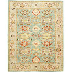 @Overstock - An intricate Oriental design and dense, thick pile highlight this handmade rug. This floor rug has a light blue background and an ivory border and displays stunning panel colors of green, gold, rust, blue and ivory.http://www.overstock.com/Home-Garden/Handmade-Treasures-Light-Blue-Ivory-Wool-Rug-76-x-96/5767657/product.html?CID=214117 $328.99