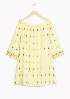 & Other Stories image 1 of Embriodered Off-Shoulder Dress in Yellow