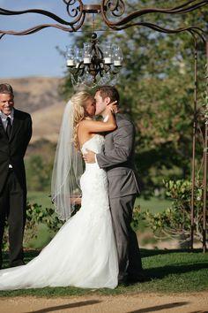 First kiss, ceremony shots #frenzelstudios www.frenzelstudios.com #firstlook #arroyotrabuco #golfcoursewedding