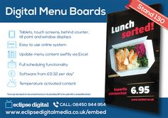 Looking to enhance your food or drink business with the latest Digital Signage technology? Eclipse Digital Media at the Takeaway Innovation Expo can help. Digital Menu Boards, Digital Signage, Interactive Installation, Expo 2015, Digital Media, Innovation, Lunch, Technology, London