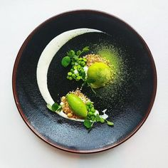 Chilled giant pea soup with coconut and wasabi.