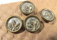 """Victorian Buttons Four (4) ANTIQUE Victorian Wallpaper Buttons Brass Silver 9/16"""" Vintage Jewelry Wedding Costume Sewing Supplies (F249) by punksrus on Etsy"""