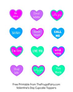 Printable: Valentine's Day Convo Heart Cupcake Toppers