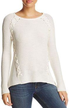 Design History Shark Bite Lace-Up Ribbed Sweater Women - Sweaters - Bloomingdale's Ribbed Sweater, Pullover Sweaters, Lna Clothing, Lace Knitting, Knit Lace, Sweater Design, Knit Shirt, Cable Knit, Sweaters For Women