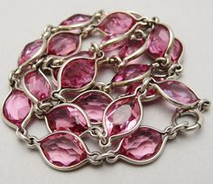 Art Deco Sterling Silver Pink Crystal Bezel Set Necklace from adore on Ruby Lane