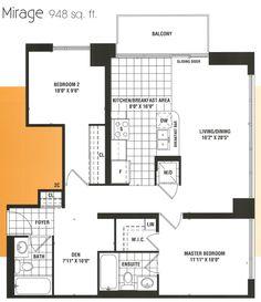 Spacious Mirage floor plan with 2 bedrooms and den.