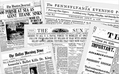 "Newspaper front pages. Source: GenealogyBank.com. Read more on the GenealogyBank blog: ""Want to Involve the Grandkids in Family History? Tip #3"" https://blog.genealogybank.com/want-to-involve-the-grandkids-in-family-history-tip-3.html"
