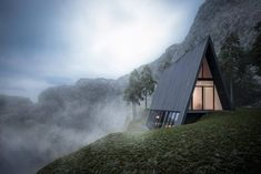 German architect Matthias Arndt designed this conceptional A-Frame cabin as an internal project for Lichtecht architects.