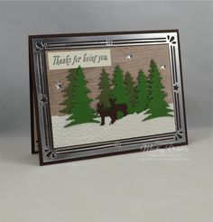Blog Post Date:  August 5, 2017.  A serene Winter scene using the Card Front Builder Thinlits for the Big Shot.  Other elements of this card include:  Special Celebrations stamp set, Softly Falling Textured Impressions Embossing Folder for the Big Shot, Silver Foil Sheets, Wood Textures Designer Series Paper Pack, Metallic Enamel Shapes, Shimmery White cardstock, and the colors of Always Artichoke, Early Espresso, Garden Green, and Very Vanilla.