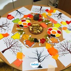 Autumn painting activity using corks, paint and paper. You can easily recreate this activity using our autumn craft instructions pack. Autumn Eyfs Activities, Nursery Activities, Creative Activities, Toddler Activities, Preschool Activities, Kindergarten Inquiry, Autumn Painting, Autumn Art, Autumn Theme