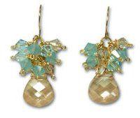 Gold and Aquamarine Crystal Earrings