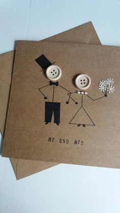 Wedding card mr and mrs marriage wedding day greetings card kraft buttons bride groom is part of Wedding cards handmade - A lovely quirky wedding card with stickman bride and groom Handmade on card with 120 gsm envelope and measures Wedding Anniversary Greeting Cards, Wedding Card Messages, Wedding Greetings, Wedding Day Cards, Marriage Day Greetings, Wedding Aniversary, Anniversary Crafts, Wedding Cards Handmade, Greeting Cards Handmade