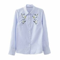 Women sweet flower embroidery striped blouse office wear long sleeve shirts turn down collar ladies work tops blusas