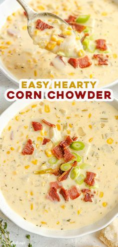 Using either fresh canned or frozen corn this Easy Corn Chowder recipe is a great year-round soup! With added potato bacon and cheese youll want a big bowl! Easy Corn Chowder, Bacon Corn Chowder, Chicken Corn Chowder, Sausage Corn Chowder Recipe, Vegetarian Corn Chowder, Chicken Chili, Chicken Soup, Quick Soup Recipes, Corn Soup Recipes