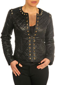 F3025004-Black-front Fall Collections, Leather Jacket, Jackets, Black, Tops, Fashion, Studded Leather Jacket, Down Jackets, Leather Jackets