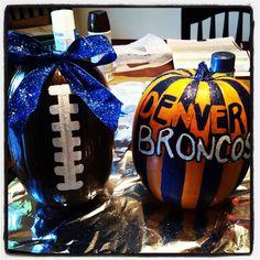 Painted football pumpkins! Denver broncos of course!