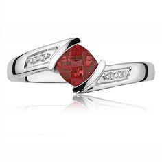 Red Garnet Gemstone & Diamond Birthstone Ring