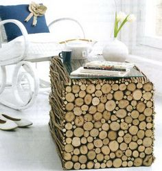 DIY Project with Twigs and Wood. Even using JUST the ends of the branches as tile would be pretty cool.