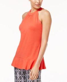 Ny Collection Ruffle-Hem Top - Orange XS
