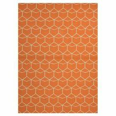 """Equally at home on the patio or in your foyer, this artfully hand-hooked indoor/outdoor rug brings a bold pop of pattern to your decor with its eye-catching geometric motif.   Product: RugConstruction Material: 100% PolypropyleneColor: Orange and ivoryFeatures:  DurableHand-hookedLooped pile Suitable for indoor and outdoor use  0.25"""" Pile height  Note: Please be aware that actual colors may vary from those shown on your screen. Accent rugs may also not show the entire pattern that the…"""