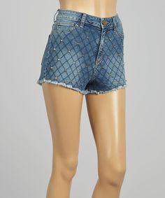Another great find on #zulily! Blue Denim Checkerboard Studded Cutoff Shorts - Women #zulilyfinds
