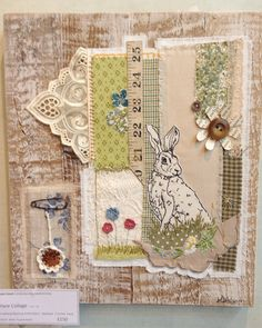 Hare mixed media piece on a reclaimed wood background - Stitching Projects Beginner Knitting Projects, Sewing Projects, Freehand Machine Embroidery, Machine Embroidery Projects, Embroidery Works, Crazy Patchwork, Fabric Journals, Sewing Art, Wood Background