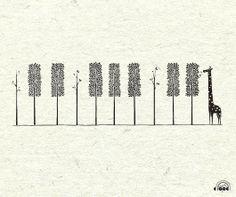 piano keys, giraffe, trees