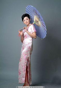 美女 旗袍 纸伞 写真