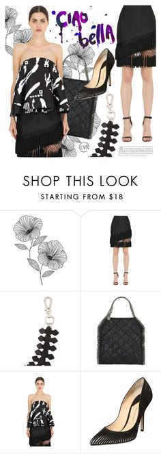 """Black Magic Woman"" by luisaviaroma ❤ liked on Polyvore featuring WallPops, Cameo, STELLA McCARTNEY, fringe, blackandwhite, luisaviaroma and lvr"