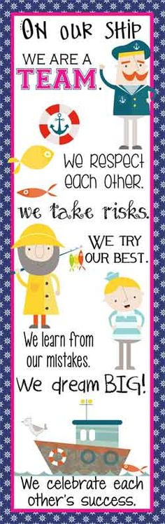 NAUTICAL pink Theme Classroom Decor/ Character Education Banner / X- Large Banner / In Our Class/ On Our Ship / JPEG / graphics by Creative Collections / ARTrageous FUN