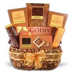 Includes Solid Dark Chocolate Bar, Milk Salted Chocolate Bar, Milk Chocolate Hot Cocoa Packets, Chocolate Truffle Coffee, Solid Milk Chocolate Bar and Godiva Signature Biscuit Godiva Gourmet Coffee Delights Gift Basket Coffee Gift Baskets, Gourmet Gift Baskets, Gourmet Gifts, Basket Gift, I Love Chocolate, Salted Chocolate, Chocolate Treats, Chocolate Lovers, Tea Gifts