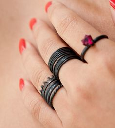 Oxidized Sterling Silver Crown & Stacking Rings – Set of 5   Jewelry Rings   LoveGem Studio   Scoutmob Shoppe   Product Detail