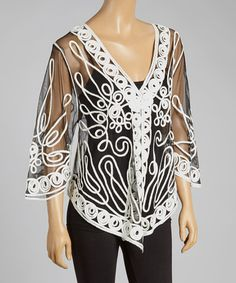 Another great find on #zulily! Black & White Sheer Embroidered Silk-Blend Cardigan by Pretty Angel #zulilyfinds