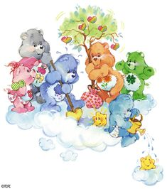 Care Bears: Grams, Grumpy, Friend, Baby Hugs, Baby Tugs and Good Luck Bear Planting a Tree