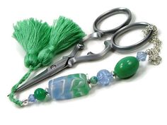 The beautiful mint green and ice blue scissor fob is the perfect accessory for your favorite scissors! The lush green tassel is also handmade by me. Lush Green, Mint Green, Fun Ideas, Gift Ideas, Handmade Bookmarks, Quilted Gifts, Knitting Supplies, Etsy Crafts, Modern Cross Stitch