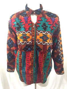 Arroyo Southwestern Rodeo Cowgirl Keyhole Long Sleeve Shirt 80's Womans Sz L  #Arroyo #ButtonDownShirt #Casual