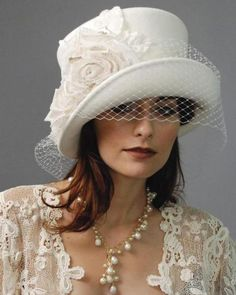 #Wedding-Hat #white #pill-box-with-cloche-brim