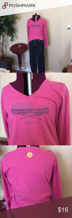 """"""" life is good"""" pink long sleeve tee shirt """" life is good"""" pink long sleeve tee shirt Life is Good Tops Tees - Long Sleeve"""