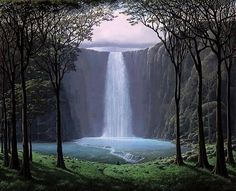 Oir las aguas (Hear the Water) Tomás Sánchez (Cuba, 1995 Acrylic on canvas, x 150 cm. x 59 in) Private collection © Tomás Sánchez / Artists Rights Society (ARS), NY Beautiful World, Beautiful Places, Beautiful Pictures, Beautiful Scenery, Beautiful Waterfalls, Beautiful Landscapes, Les Cascades, Fantasy Landscape, The Great Outdoors