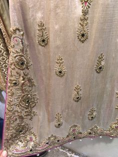 Designer Gold on Blue Embroidered Lace Zardosi Embroidery, Hand Work Embroidery, Couture Embroidery, Embroidery Suits, Indian Embroidery, Embroidery Fashion, Silk Ribbon Embroidery, Hand Embroidery Designs, Embroidered Lace