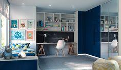Dormitório Cobalto Caixas: 15mm MDF Branco Frentes 18mm MDF Lacca Color Shine Cobalto | Perfil 2121 Espelho Tamponamento: Monte Bianco | Lacca Color Shine Cobalto Puxadores: Quadrilha Azul Acessórios: Sapateira deslizante | Prateleira deslizante