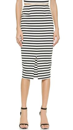 Monaco Stripe Pencil Skirt http://picvpic.com/women-skirts-midi-skirts/monaco-stripe-pencil-skirt#Black~White?ref=PCFeTk