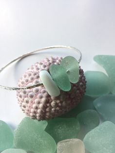 Sterling silver Hawaiian sea glass bangle by GirllovesSea on Etsy
