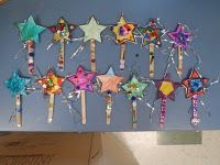 Wands...let kids color cardstock star, glue to popsicle stick and add rhinestones, glitter, etc.  So cute!!