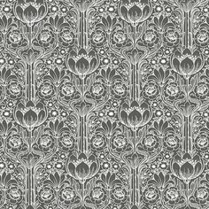 WV6087 - Odessa Black Garden Damask - by Eco Wallpaper