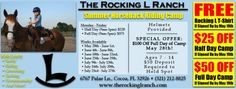 Get $50 OFF Day Camp Along With Other Coupon Offers At The Rocking L Ranch, Cocoa, FL.  http://spacecoastcouponsofbrevard.com/coupons/the-rocking-l-ranch