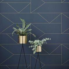 Lines Tapete - dunkelblau - Ferm Living