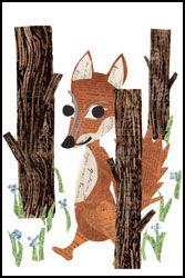 forest fox paste print
